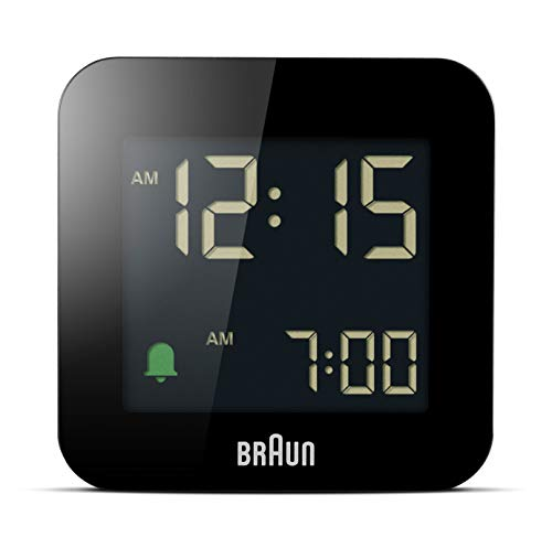 Braun Digital Travel Alarm Clock with Snooze, Compact Size, Negative LCD Display, Quick Set, Crescendo Beep Alarm in Black, Model BC08B.