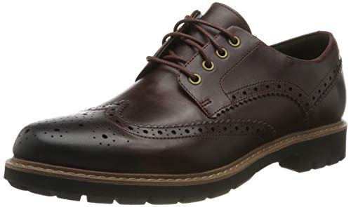 Clarks Batcombe Wing, Zapatos de Cordones Brogue para Hombre, Marrón Burgundy Leather, 44 EU
