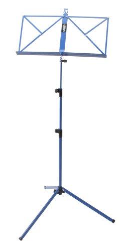 Classic Cantabile Notenständer Blau - Klappbares Notenpult für Kinder und Erwachsene - Mit Notenhalter an der Auflage - Höhenverstellbar von 65-130 cm - Gummifüße