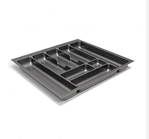Besteckeinsatz Schubladeneinsatz Besteckkasten Comfort Universal | für 60er Schubladen | zuschneidbar von 508-550 mm | Silbergrau