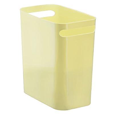 """iDesign UNA Rectangular Trash Handles, Waste Basket Garbage Can for Bathroom, Bedroom, Home Office, Dorm, College, 12"""" Inch, Lemon"""