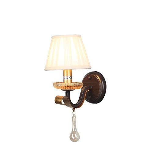 E14 Creativity Decor Lámpara de Pared con Pantalla de Tela con Bola de Cristal Colgante Decorativo Diseño Moderno Lámpara de Pared de Hierro de Calidad para Dormitorio Sala de Esta