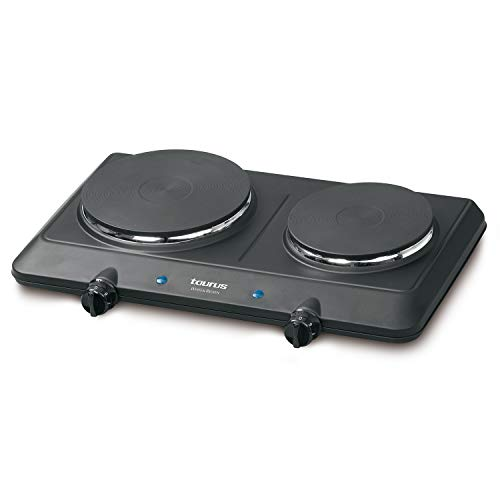 Taurus 974666000 - Doble hornillo eléctrico Volcan Duo 2250W, 18/15 cm, placa de cocción eléctrica portátil