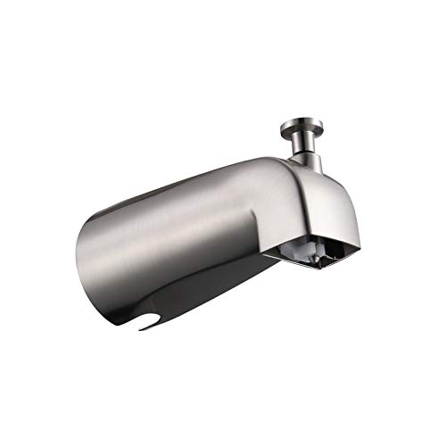 HOMELODY Tub Spout Matte Black, 1/2 inch IPS Inside Thread, Front End Threaded Spout, 5-1/4 inch Length, Wall Mounted American Standard Diverter Tub Spout, with Divider Function Bathroom Tub Faucet