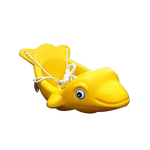 zxb-shop Columpios Forma de delfín Columpio Asiento Patio Interior al Aire Libre Patio Infantil El Columpio Puede soportar 12 kg (Color : Yellow)
