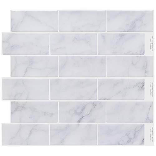 STICKGOO Pegatinas de azulejos autoadhesivos 3D, Decorativos Adhesivos para Azulejos Pegatina de Pared, Impermeable Azulejos de Gel, Diseño de mármol blanco, para Baño y Cocina