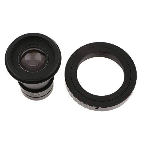 gazechimp T2 Adapter Ring for Canon EF Camera + 23mm Microscope Eyepiece 9.6X Magnification Wide Field Lens + 30mm Eyetube Adapter - Metal