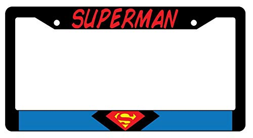 License Plate Frames, Superman Black Metal License Plate Frame Auto Accessory DC Applicable to Standard car Rust-Proof Rattle-Proof Weather-Proof License Plate Frame Cover 15x30cm