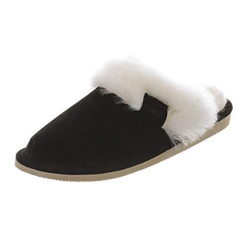 Hollert Damen Lammfell Hausschuhe Malibu Puschen Fellschuhe aus echten Merino Lammfell kuschelig warm versch. Farben Schuhgröße EUR 37, Farbe Schwarz