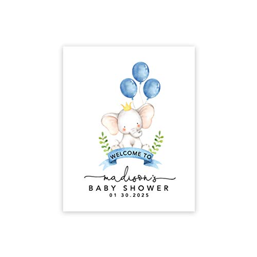Andaz Press Custom Large Baby Shower Canvas Welcome Sign, 16 x 20 Inches, Baby Elephant and Baby Blue Balloons, Guestbook Alternative, Personalized Sign Our Canvas, for Elephant Baby Shower, Sprinkle