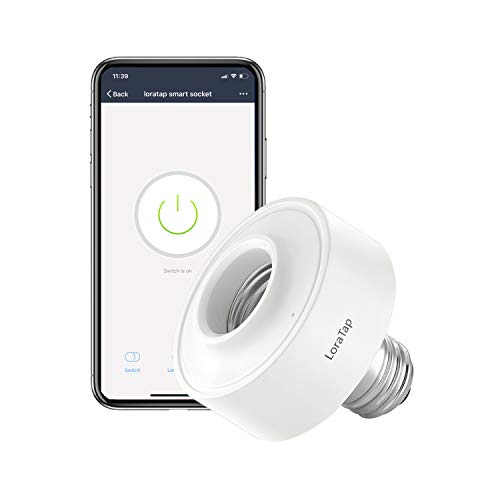 LoraTap Smart Wi-Fi LED Light Bulb Socket Adapter E26 Lamp Timer Holder, Compatible with Google Home and Amazon Alexa, Voice Control, Smart Life App Control, Max. Watt 30W