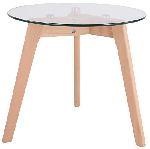 CLP Tavolino Tondo in Vetro Motala Design Scandinavo I Tavolino Moderno Salotto con Telaio in Legno I Tavolo 3 Piedi per Soggiorno Vetro Chiaro 50 cm