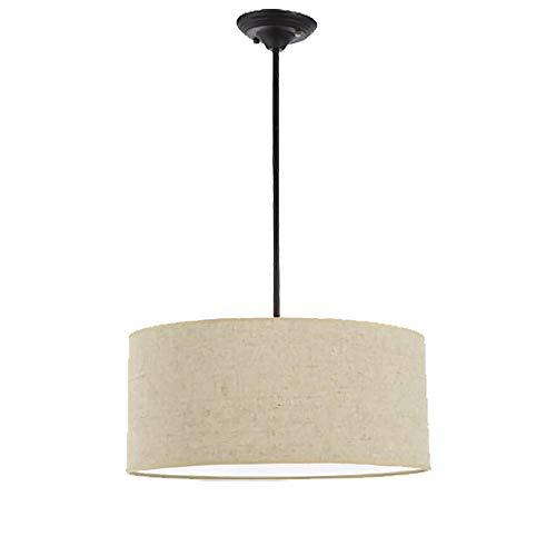 Moderne Stof Drum Hanglamp Ronde Eenvoudige Kroonluchter Lampenkap E27 Hangend Plafondlamp voor Meisje Keuken Slaapkamer Badkamer Binnen Woonkamer Decor (Multicolor optioneel) (Apricot)