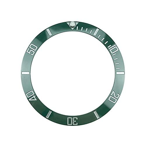 ZXC Nuevo 38 mm Moda Verde Bisel de cerámica Inserto para los Relojes de los Hombres reemplazan los Accesorios los Accesorios de la Esfera (Color : Green)