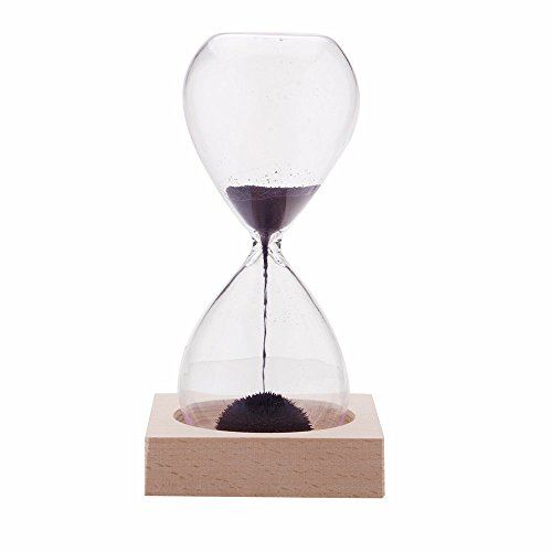 GracesDawn Hand-Blown Glass Sand Timer Magnet Magnetic Hourglass Beautiful Wooden Base