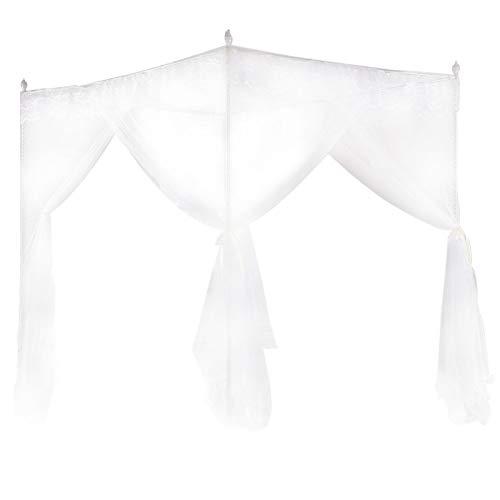 Polyester Fyra hörn myggnät ? Lyxig prinsessa Tre sidöppningar Post säng säng Gardin Netting Myggnät sängkläder Trevlig spetsdesign Andningsbar nätnät Vit(120 * 200 * 200)