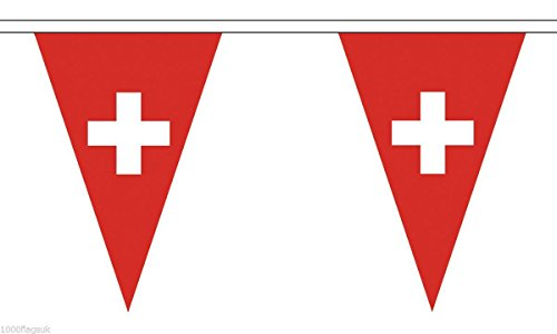 1000 Flags Switzerland Triangular String 54 Flag Polyester Material Bunting - 20m (65'') Long