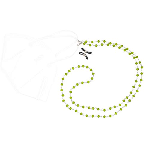Feliss Maskenkette Damen inkl. Schlaufe für Brillenkette, Bunte Glas Perlenkette grün 70 cm, als Schmuck Geschenk, Maskenhalter für Mund Nasenschutz Masken