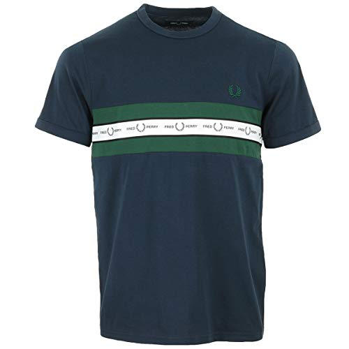 Fred Perry T-Shirt Blue and Green S, Blau Small