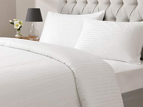 White Collection - Juego de funda nórdica para cama doble (200 x 220 cm), diseño de rayas, color blanco