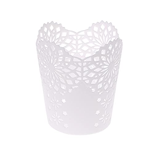 YiXing Soporte para bolígrafos con diseño de flores huecas, organizador de escritorio, color blanco