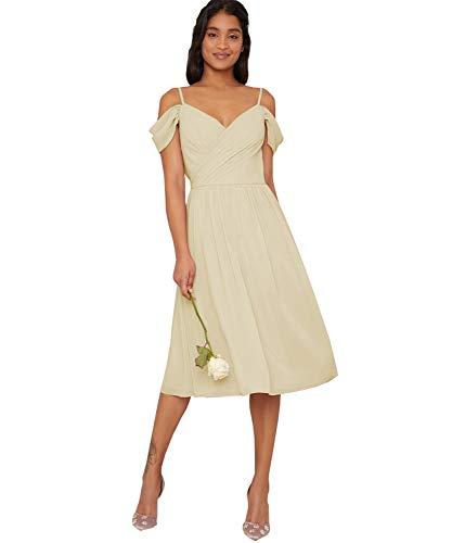 Yilis Women's V-Neck Spaghetti Strap Tea Length Bridesmaid Dress A-line Formal Prom Dress Champagne US18W