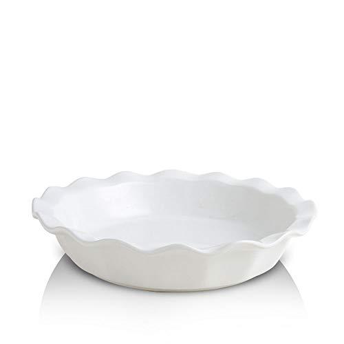 KOOV Ceramic Pie Dish, 9 Inches Pie Pan, Pie Plate for Dessert Kitchen, Round Ceramic Baking Dish Pan for Dinner, Gradient Series (Pure White)