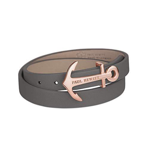 PAUL HEWITT Damen Wickelarmband North Bound aus Leder in Grau und Anker aus Edelstahl in Roségold Armband-Länge 42,5 cm