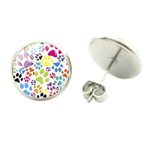Pendientes redondos con diseño de huellas de perro, 12 mm de cristal, cabujón, cúpula pendiente, joyería de cumpleaños