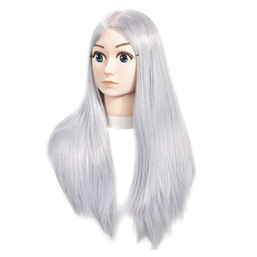 IPOTCH 100% Vrais Cheveux Humains/Têtes d'exercice Coiffure Tête de modèle Pour Etude Professionnel de Cosmétologie - Anime Grey
