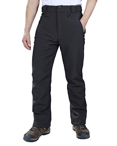 Outdoor Ventures Men's Lite Waterproof Windproof Fleece Lined Warm Hiking Ski Snow Pants Expandable-Waist Black