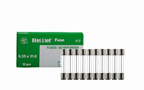 EDI-TRONIC 10 Piezas fusibles de Vidrio de liberación Lenta 6.3x32mm 250V Träge TYP612 2,5A