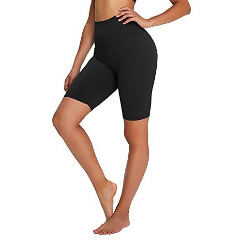 Campsnail Radlerhose Damen Kurze Leggings High Waist Hotpants Unterhose Blickdicht Sportshorts Sommer für Yoga Joggen Pilates Fitness (S-L, 1er-Schwarz)