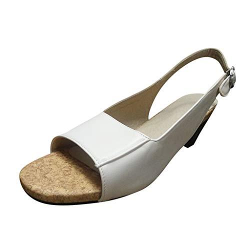 TWIFER Zapatillas Moda Sandalias Tacón Escarpín Stiletto Correa de Tobillo Mujer Tacón de Aguja Alto Partido Color sólido Zapatos de Vestir de Material Sintético para Mujer Negro Blanco Blanco