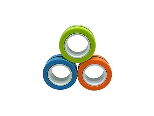 Zompers Zing Ringz | Divertidos juguetes magnéticos para niños mayores de 8 años | Divertido regalo de cumpleaños para niños y niñas | Fácil de usar y divertido juguete para jugar | 3 por paquete – 9 anillos en total | Verde, naranja, azul claro