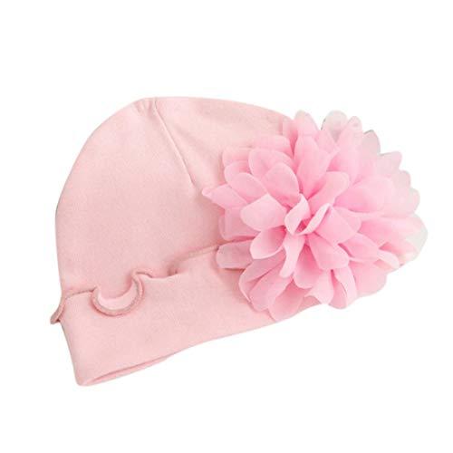 IMJONO Nouveau-né bébé Filles bébé en Bas âge Chapeau de Chapeau de Coton Chapeau Doux (0-1 an, Rose)