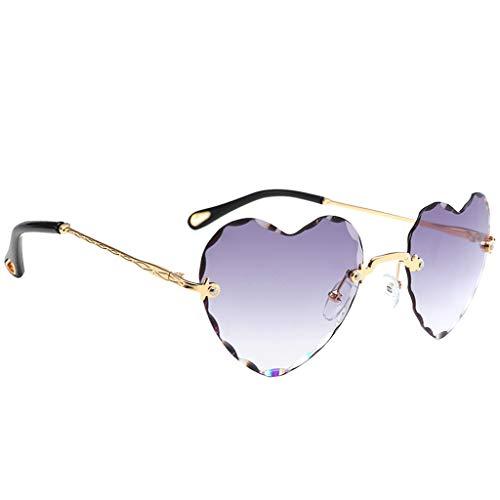 joyMerit Gafas de Sol con Montura de Corazón para Mujer Gafas con Montura de Metal con Lentes Tintadas Clásicas UV 400 - Gris, Tal como se Describe