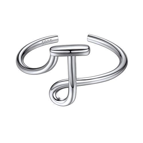 ChicSilver Anillos Ajustables Simples para Mujeres Letra J Iniciales Joyería Romántica Plata de Ley 925 Chapado en Oro Blanco Accesorios Modernos de Dedos de Manos
