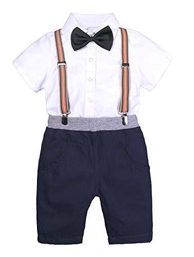 Bébé Enfants Garçons Formal Suit Bow Shirt Hauts Porte-Jarretelles Shorts Noël Tenues Ensemble