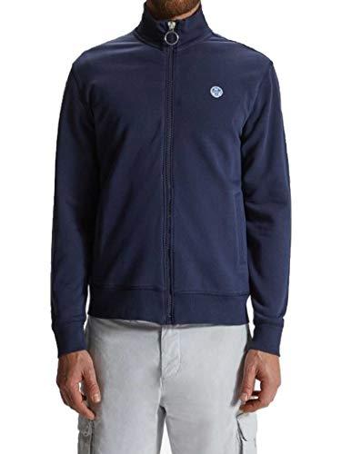 NORTH SAILS Felpa Uomo in Blu Marino - 100% Cotone Regolare Adatto di Stile con Il Basamento Colletto e Maniche Lunghe - M