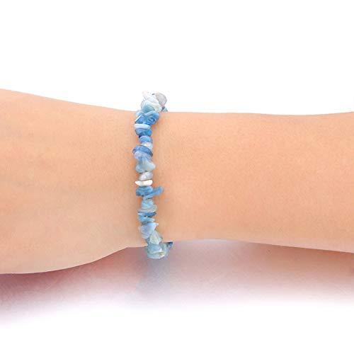 SBKJL Aquamarin Steinschlag Armband Chakra Armbänder & Armreifen Yoga Balance Perlen Reiki Gebet