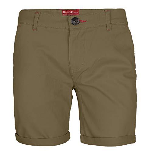 BlauerHafen Herren Stretch Chino Shorts Slim Fit Bermuda Kurze Hose Strecken-Baumwolle (W36 (Taille: 94-96cm), Khaki)