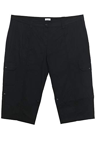 Sheego Caprihose 3/4 Sommerhose Cargohose Damen Stretch Baumwolle Plusgröße, Farbe:schwarz, Damengrößen:56