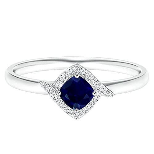 Piedra preciosa de zafiro azul de talla cojín de 0,25 quilates Oro amarillo de 9 quilates aureola Anillo de compromiso (Oro blanco, 13.5)