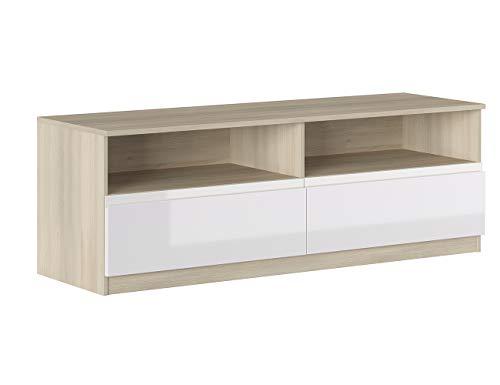 Iconico Home MIK Modern, Mobile TV con 2 cassetti e vani a giorno, Soggiorno, Salotto, Camera da letto, 160x44,5xh53,5 cm, Rovere