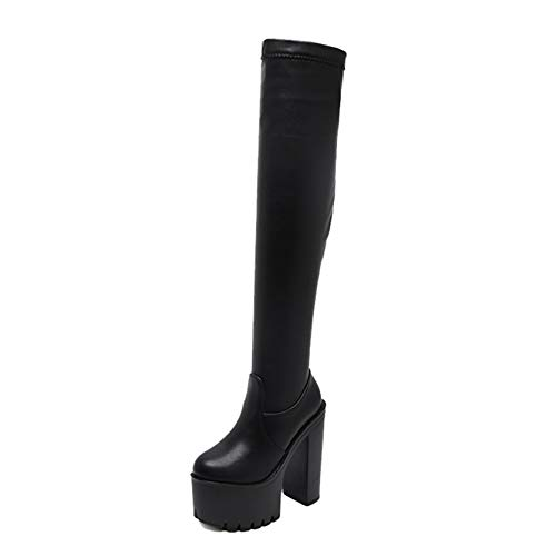 XIGUAUK Motorcycle Boots for Women Wear-Resistant Platform Slip-On Soft Fashion Simple Style Party Smooth Over The Knee Boots