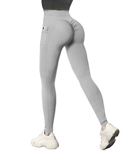 COMFREE Leggings Push Up Mujer Pantalones De Yoga Con Bolsillos Leggings Cintura Fitness Mallas Deportivas Anticelulitico Gris S
