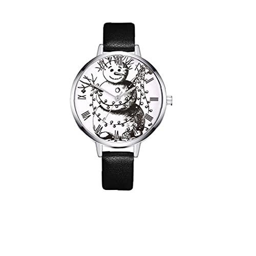 Liadance Mujer Muñeco de Nieve patrón Reloj analógico Cuarzo Estilo Casual Reloj con Brazalete de Cuero Festival de Navidad Regalo -Black