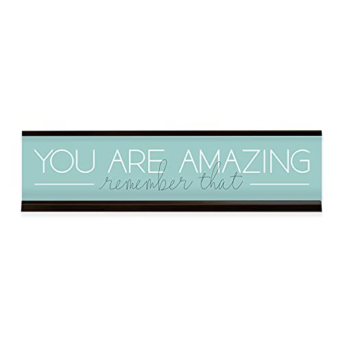 """You Are Amazing Desk Plate / 8"""" x 2"""" Desk Sign/Motivational Name Plate With Black Holder"""