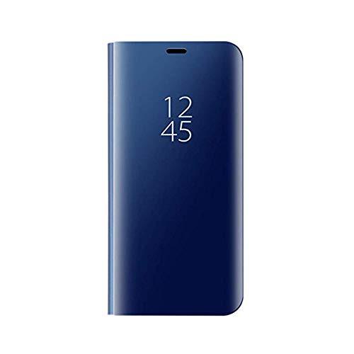 TANYO Hülle Geeignet für Samsung Galaxy M51, Plating Smart Clear View Case, Luxury Mirror Ultradünne Flip Handyhülle. Blau